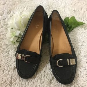 Coach Flores Signature Black Loafers Silver Trim 7